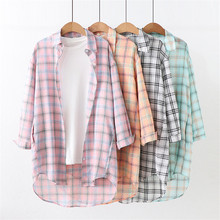 Retro Plaid Long Shirt Top Fashion Single-breasted Full Sleeve Turn-down Collar Autumn Women Blouse Plus Size Loose Casual Blusa недорого