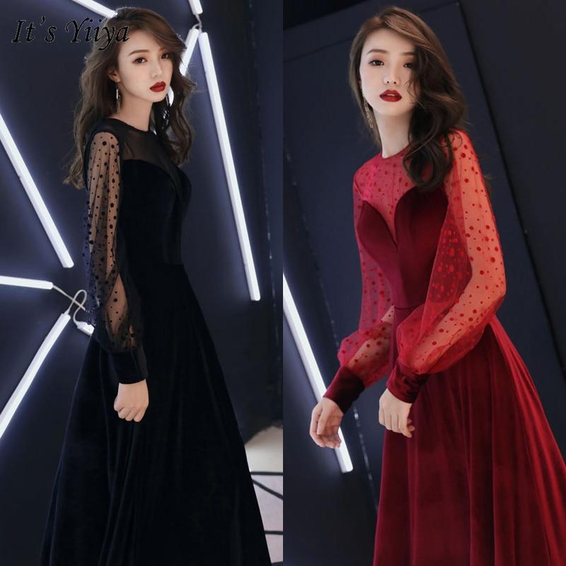 It's YiiYa Evening Dress 2019 Long Sleeve Lace Dot Pattern Women Party Gowns Floor Length Elegant O-Neck Formal Dresses E331
