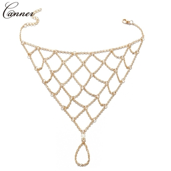 CANNER Exaggerated Hollow Mesh Chains Anklets for Women Gold Color Mesh Chains Leg Bracelet Barefoot Sandals Foot Jewelry Q40 5