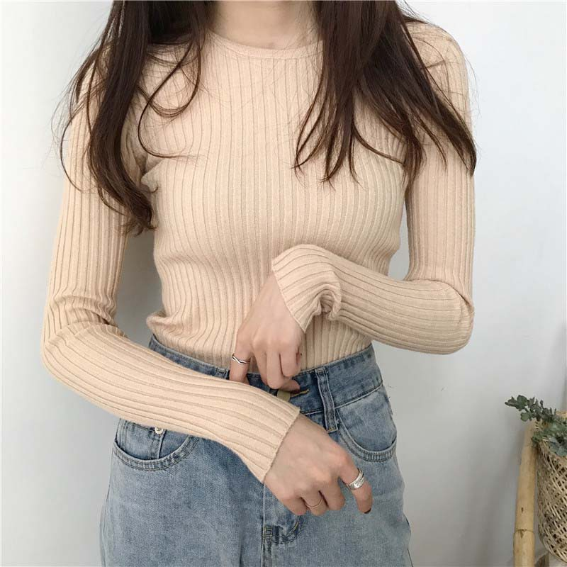 Women Autumn O-neck Sweaters Girl Slim Solid Color Long Sleeve Sweater Female Winter Knitted Casual Pullovers Tops
