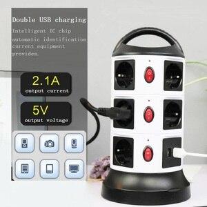 Image 4 - Tipo torre vertical tira de torre de energia proteção contra sobrecarga multi soquetes 3/7/11 ue tomadas ca 2usb portas tomada de extensão plugue da ue