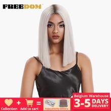 FREEDOM perruque Lace Front et t part synthétique lisse, coiffure 14 pouces, ombrée bleue, coiffure au choix de couleurs, livraison gratuite