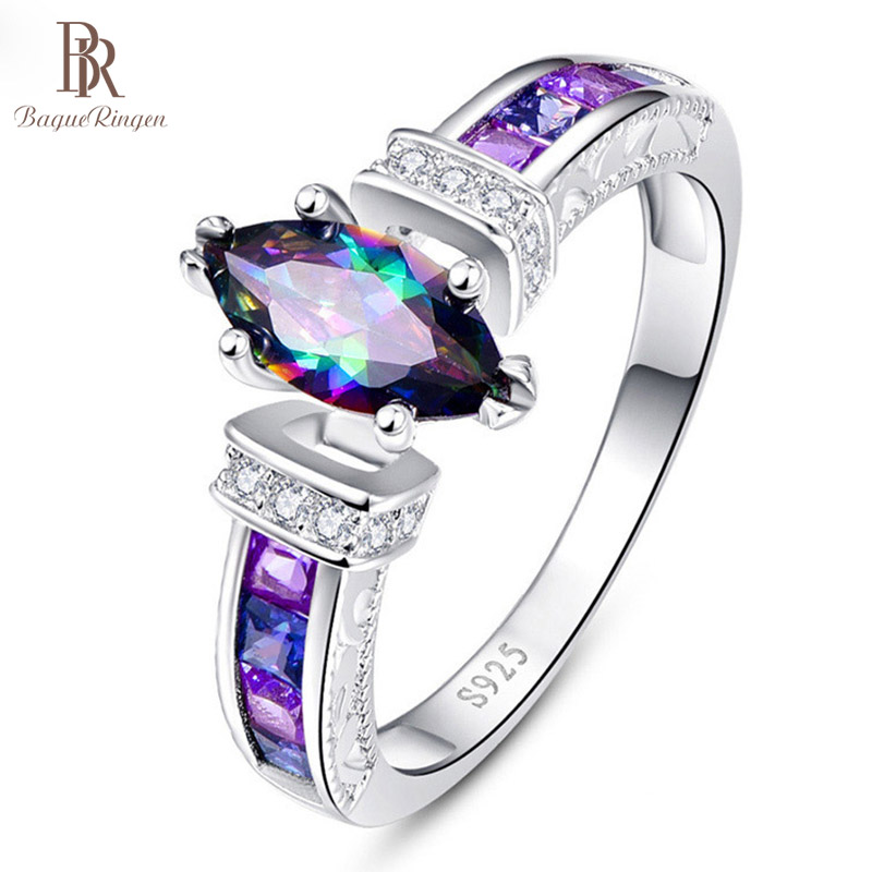 Bague Ringen Silver 925 Ring For Women With Oval Rainbow Fire Mystic Topaz Gemstone Silver Jewelry Party Silver Fine Jewely
