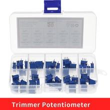 50 pçs/lote 3296X série 100R 500R 1K 50 20 10 5 2K K K K K 100K 500K multi-turn potenciômetro 10K resistores Variáveis Com box set