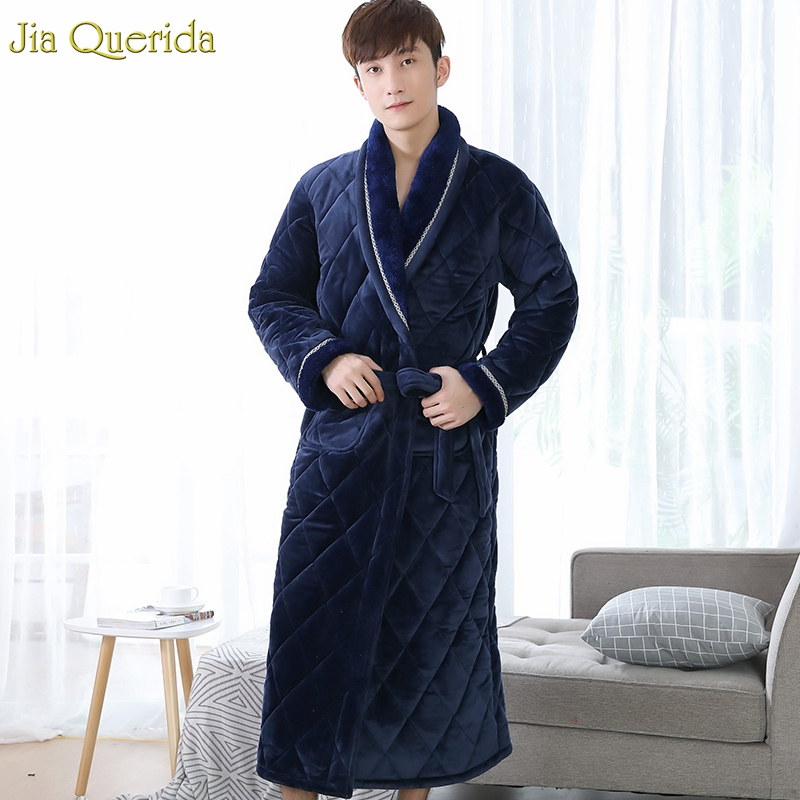 Men Long Sleeve Nightgown Winter Thick Warm Pajama Robe 3 Layer Padded Velvet Robe Royal Blue Luxury Nightwear Home Kimono Robe
