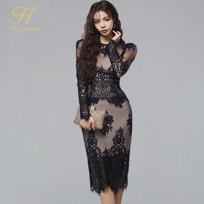 H Han Queen Womens Sexy Black Lace Hollow Fashion Business 2 Pieces Schede Potlood Bodycon Jurk Vestidos Elegant Vintage