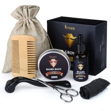 Men Beard Grooming Kit Mustache & Beard Styling Tools Beard Oil Beard Balm Beard Brush Bead Comb Beard Scissors Beard Care Set