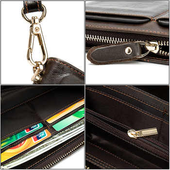 New Multi-functional Genuine leather RFID Blocking Wallet Zipper Coin Pocket Long Purse Passport Cover For Men Card Holder Purse