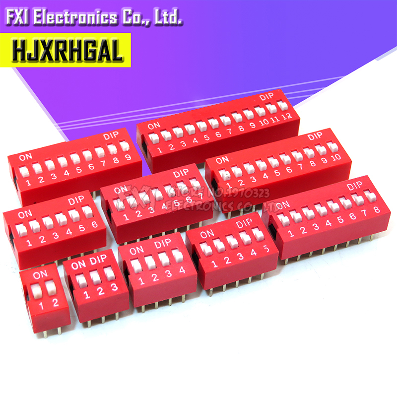 10PCS Slide Type Switch Module 1 2 3 4 <font><b>5</b></font> 6 7 8 9 10 <font><b>12</b></font> Bit 2.54mm Position Way DIP Red Pitch Toggle Switch Red Snap Switch image