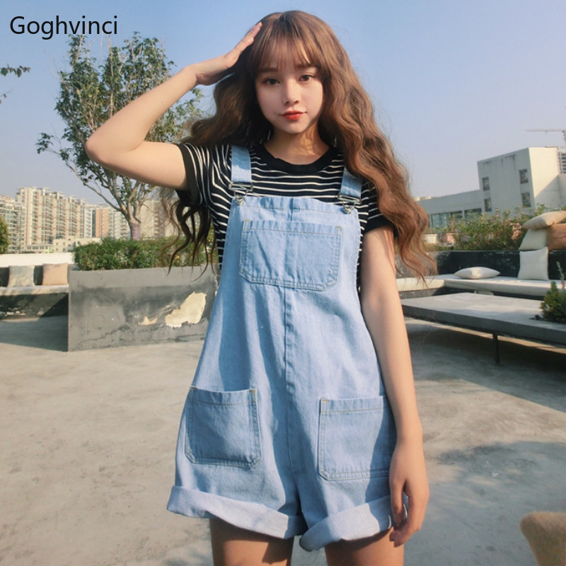 Rompers Women Summer New Loose Pockets Denim Playsuits Trendy All-match Womens Solid Students Leisure Daily High Waist Fashion