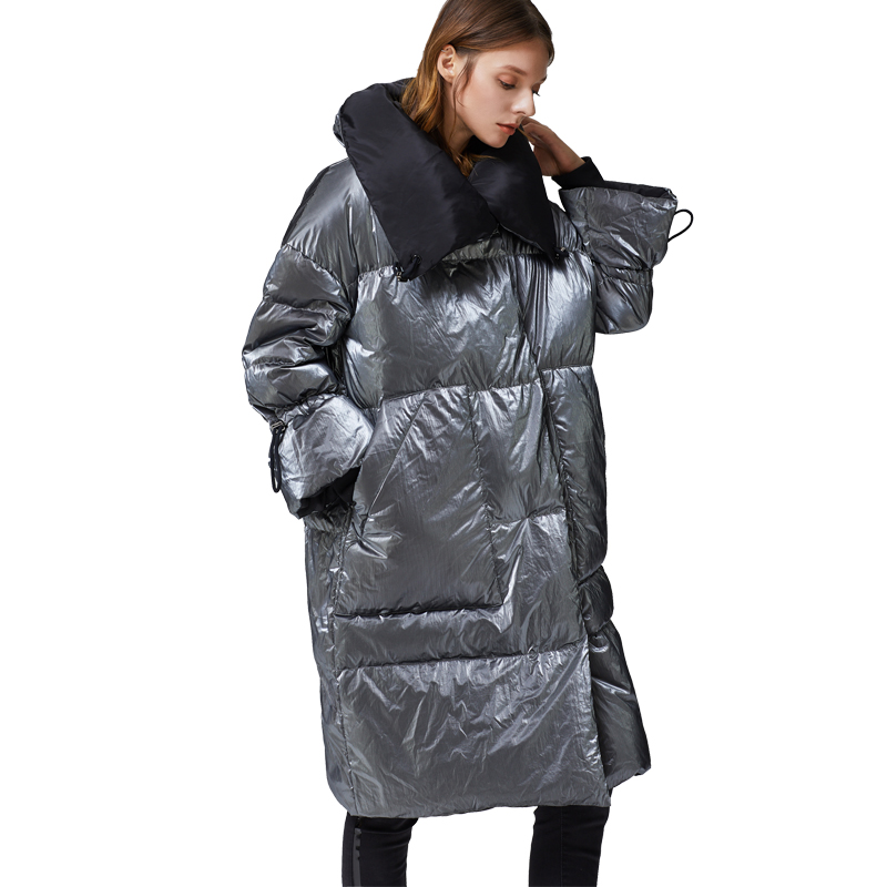 2019 New Fashion Women's White Duck   Down   Jacket Zippers Shiny Wide-Waisted Silver High Quality Metallic Fashionable warm   coat