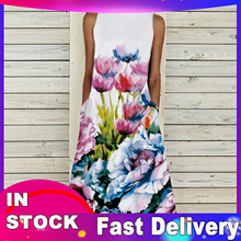 Long-Dress Women Casual Pocket O-Neck Knee-Length Print Loose Retro Summer Summer