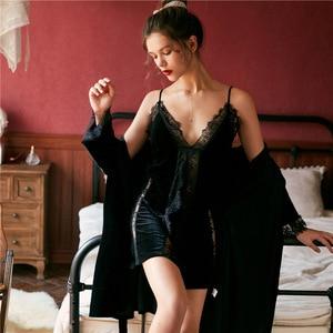 Image 5 - 2019 jesień zima kobiety bielizna nocna szata suknia ustawia Sexy salon snu Pleuche damska bielizna nocna Spaghetti pasek koszula nocna
