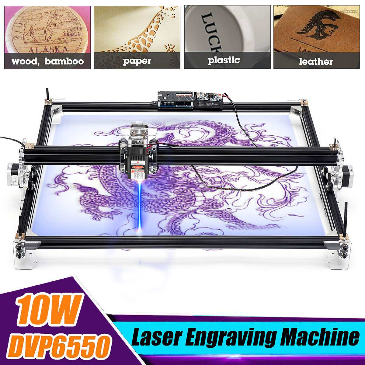 Mini 10000MW Laser Engraver Wood CNC Router Machine Y-axis Hobby Home DIY Metal Engraving Machine Desktop Wood Cutting Tools