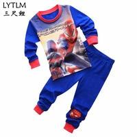 LYTLM Удивительный Человек-паук комиксы 2 комплекта детская одежда для сна из хлопка, домашняя одежда, комплект детской пижамы с персонажами и...