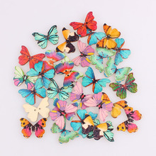 Красивая бабочка смешанные 2 отверстия деревянные пуговицы Рождество DIY Декор Детская одежда швейные пуговицы ремесла Скрапбукинг аксессуары E