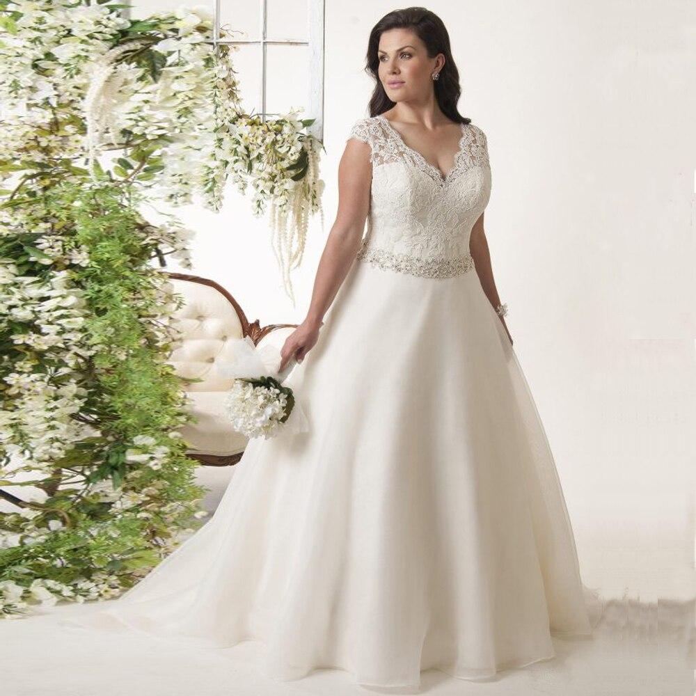 ADLN Cap Sleeve Plus Size Wedding Dress Robe De Mariee V-neck Sleeveless Ball Gown Organza Wedding Dresses With Beading Sashes