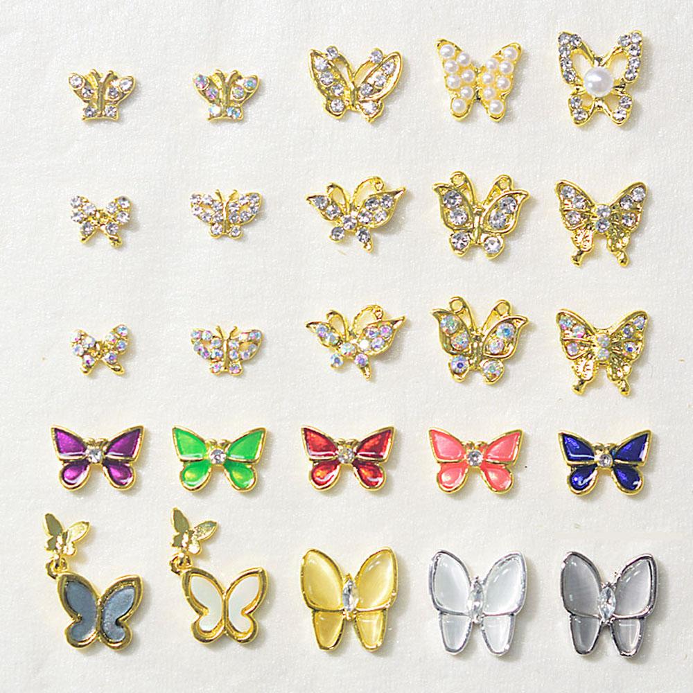10 шт./лот украшения для ногтей металлический сплав в форме бабочки 3D Золотой японский стиль Подвески для ногтей блестящие стразы аксессуары...