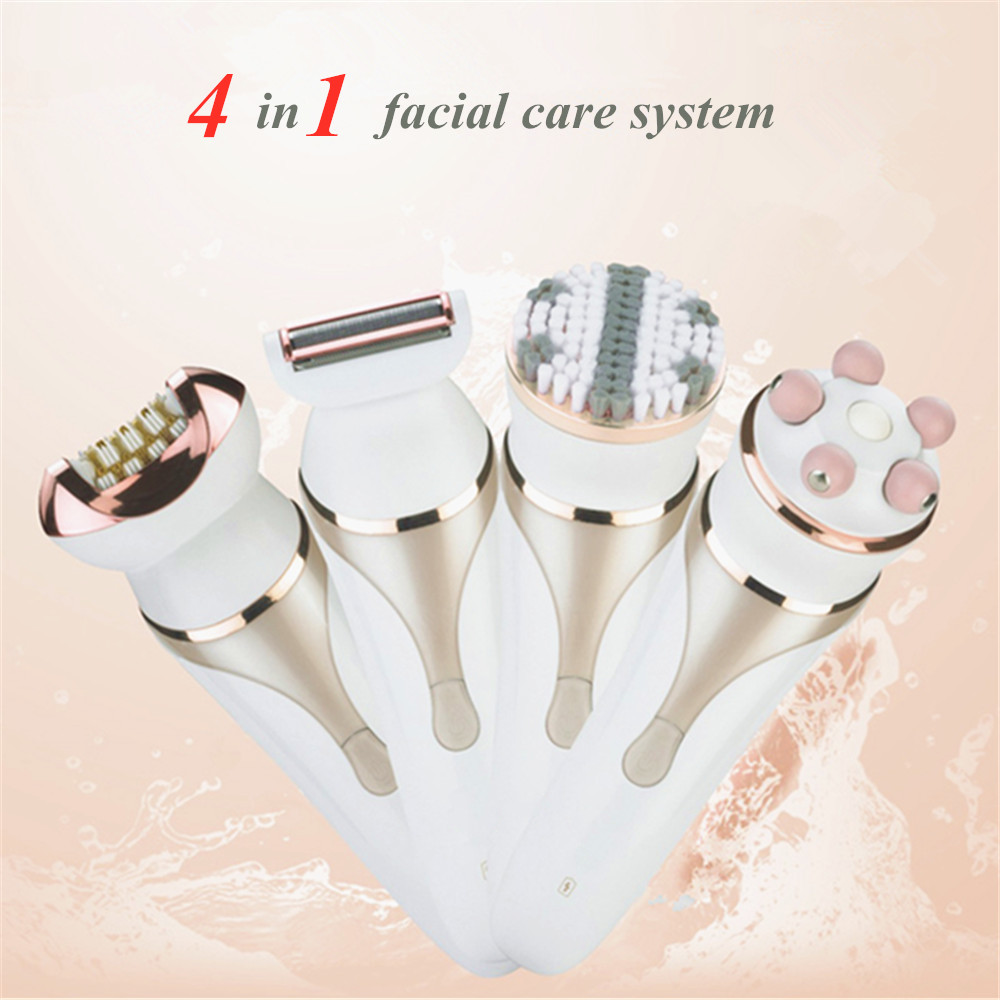 4 en 1 femmes soins du visage ensemble dame rasoir électrique rasoir épilation sans fil Rechargeable étanche nettoyage brosse et masseur