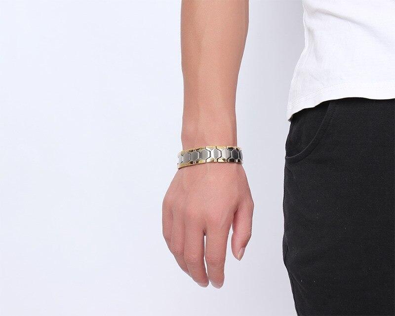 Ouro e prata cor pulseira para homens