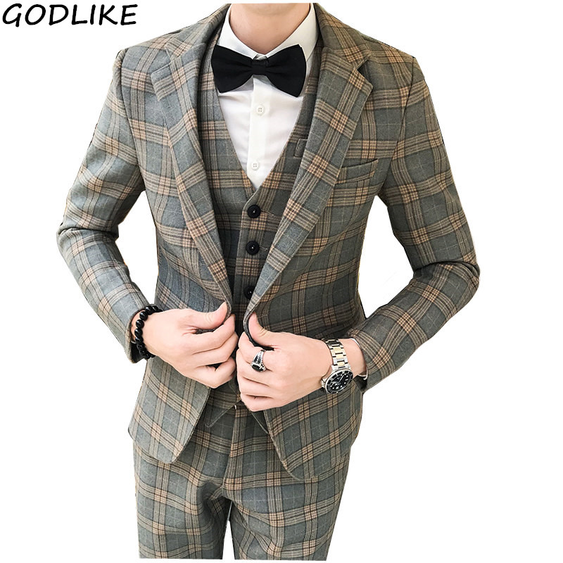 (Jacket + Pants + Vest) Luxury Slim 3 Piece Suit Men's Suit Latest Design Suit Fashion Men Plaid Wedding Dress Tuxedo Men's Suit