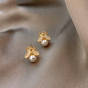 New Exquisite Honey Bee Pearl Earrings Jewelry Pearl Jewelry