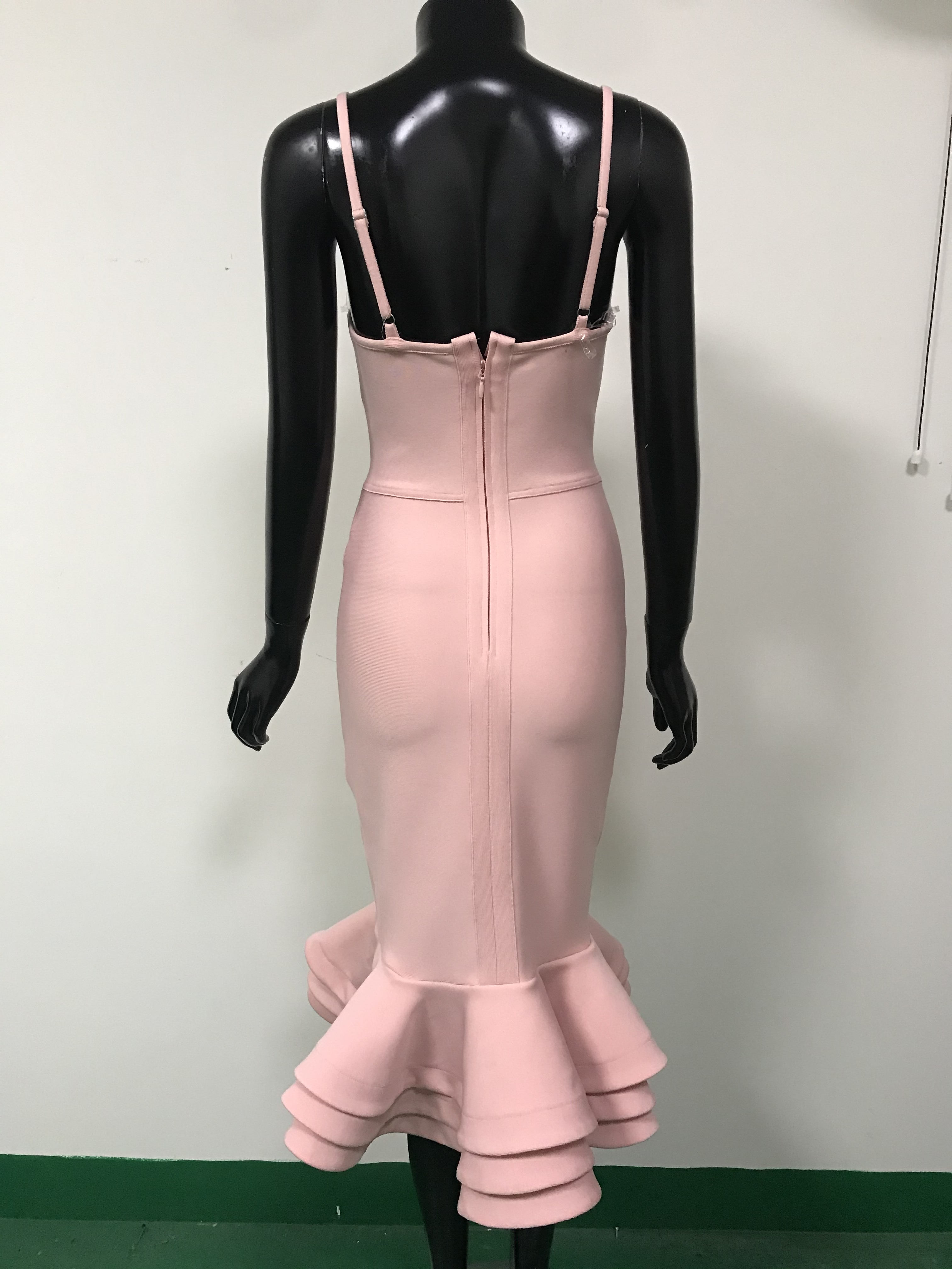 Hot Bodycon Bandage Dress 2020 Sexy V Neck Backless Ball Gown Pink Women Summer Dress Fashion Evening Party Dress Vestido 4