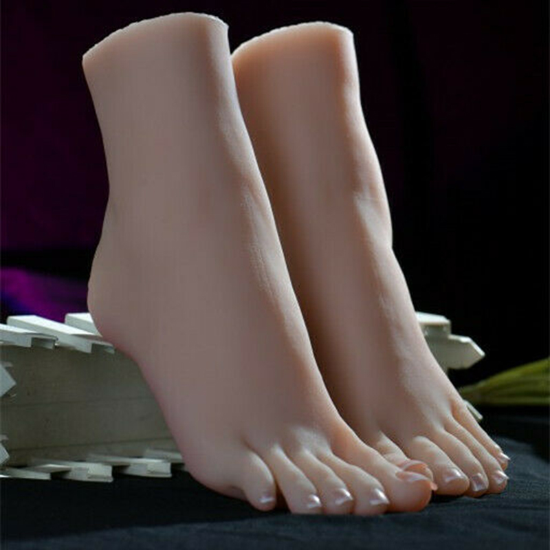 1Pair Lifelike Silicone Feet With Bone Female Foot Shoes Model Display US Fetish Toy