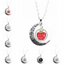 2019 New Hot Month Necklace Love Teacher Round Photo Glass Cabochon Pattern Moon Necklace Ladies Charm Moon Necklace Pendant