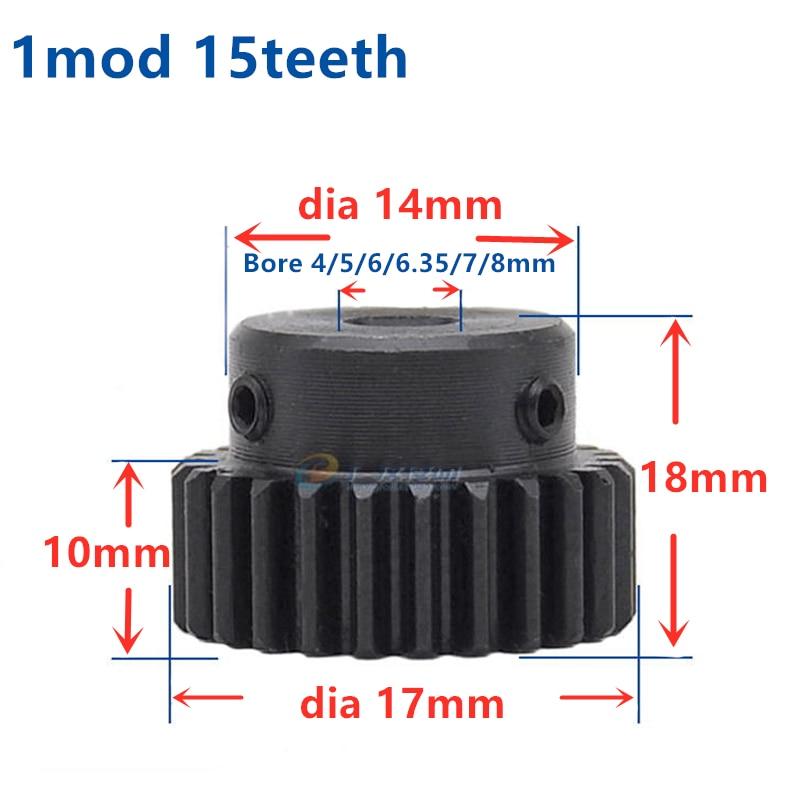 4pcs Spur Gear pinion 15T 15Teeth Mod1 M=1 Bore 4mm 5mm 6mm 8mmRight Teeth positive gear 45# steel cnc gear rack transmission RC