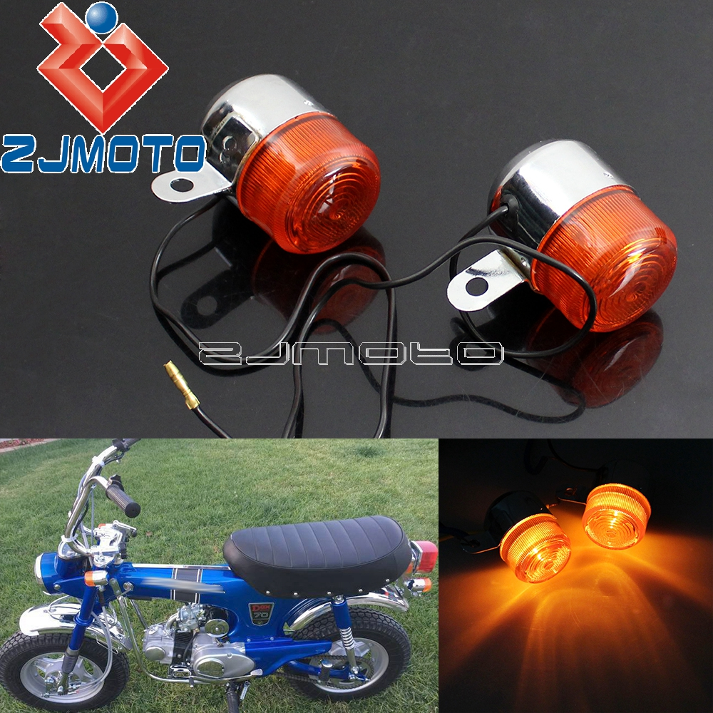 Motorcycle Amber Bulb Turn Signal Light Blinkers Flashers For Honda Z50 ST50 ST70 CT70 Turn Indicators