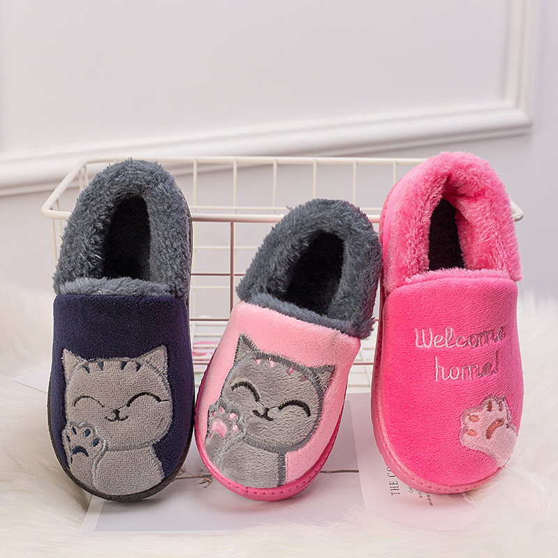 Winter Slippers Kids For Girls Indoor Cotton Slipper Baby Warm Smiley Slippers Boys Flat House Guest Children Plus Home Shoes