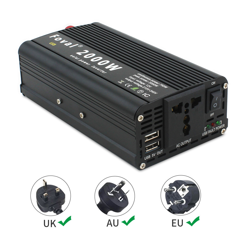 cheapest 8000W outing   Home Dual LED Display pure sine wave power inverter DC 12V 24V TO AC 220V 230V 240V with 3 1A USB