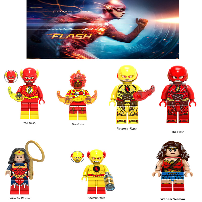 Super Heroes The Flash Reverse Flash Wander Woman Red Yellow Flash Batman Aquaman Figure Mini  Building Blocks Toys