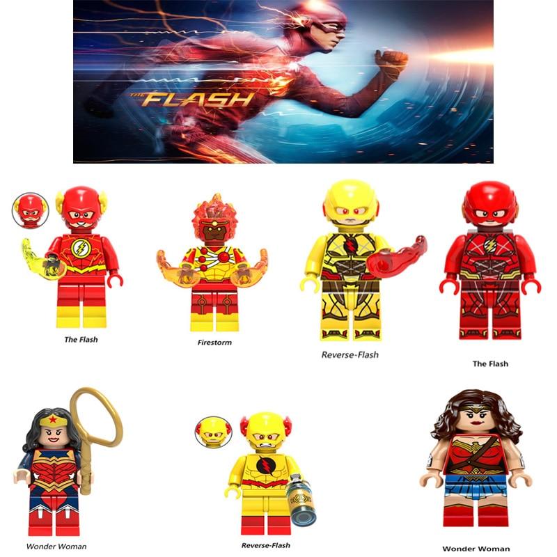 Super Heroes The Flash Reverse Flash Wander Woman Red Yellow Flash Batman Aquaman Figure Mini  Building Blocks Toys