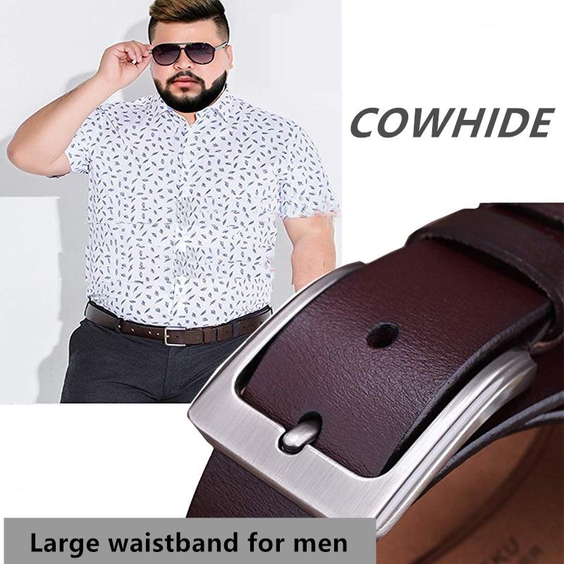 Man Plus Size Belt Cowhide Leather 150cm Obesity Waistband Alloy Buckle 3.8CM Men Jeans Belts Lengthened Size 130cm 140cm 160cm