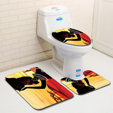 цена на 3Pcs/Set Bathroom Carpet Toilet Mat African Women Print Water Absorption Rug Bathroom Toilet Cover Anti Slip Mat Bath Mat