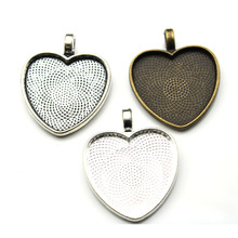 10pcs 25mm Heart Cabochons Cameo Settings Silver Plated Pendants Bezel Trays Base Fit 25mm Glass Cabochon DIY Necklace Making 10pcs fit 25mm stainless steel cabochon base diy blank cameo pendant bezel settings diy jewelry necklace trays