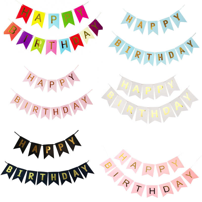 1Set Kids Paper Happy Birthday Banner Party Decorations Lovely Hang Pennants Garlands Baby Room Decorations Party Supplies Decor