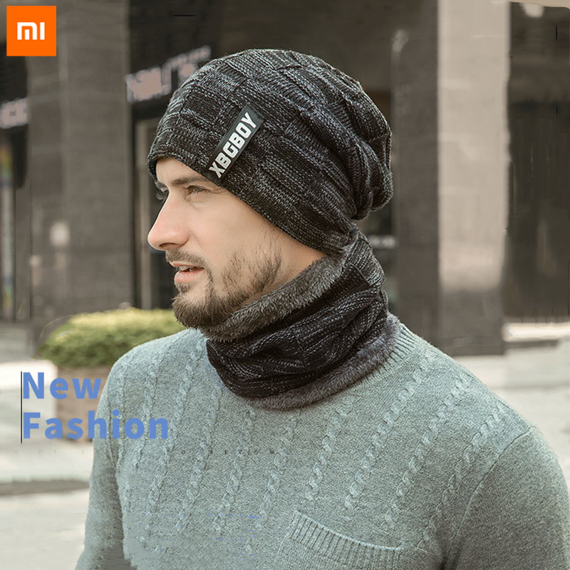 Xiaomi Neck Warmer Knitted Hat Scarf Set Fur Wool Lining Thick Warm Knit Beanies Balaclava Winter Hat Men Cap Casual 1 Set