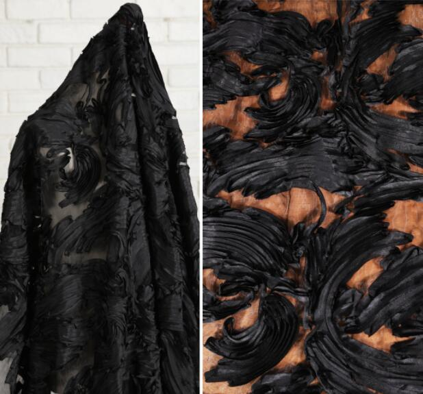 45*145CM Black toothpick cotton dress fabric brokaat stoffen sewing machine patch textiles diy polyester tissu telas fabric C858