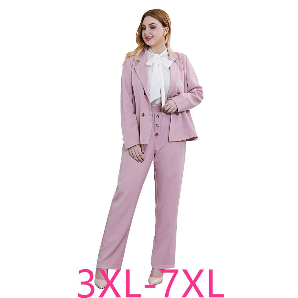 2019 New Autumn Winter Plus Size Work Wear Suits For Women Large Loose Office Blazers And Pants Formal Sets Pink 4XL 5XL 6XL 7XL