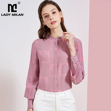 100% pure silk women's runway shirts o neck long sleeves