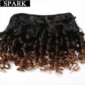 Image 2 - SPARK Human Hair Ombre Loose Bouncy Curly Bundles With Closure Brazilian Hair Weave Bundles With Closure Human Hair Extensions