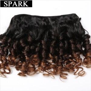 Image 2 - SPARK ludzkie włosy Ombre luźne Bouncy kręcone wiązki z zamknięciem brazylijskie włosy wyplata wiązki z zamknięciem doczepy z ludzkich włosów