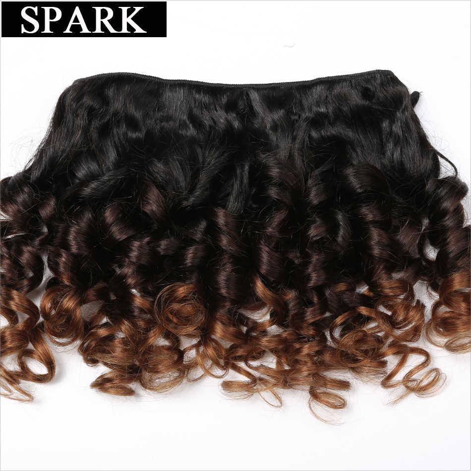 Spark Human Hair Ombre Losse Bouncy Krullend Bundels Met Sluiting Braziliaanse Haar Weefsel Bundels Met Sluiting Human Hair Extensions