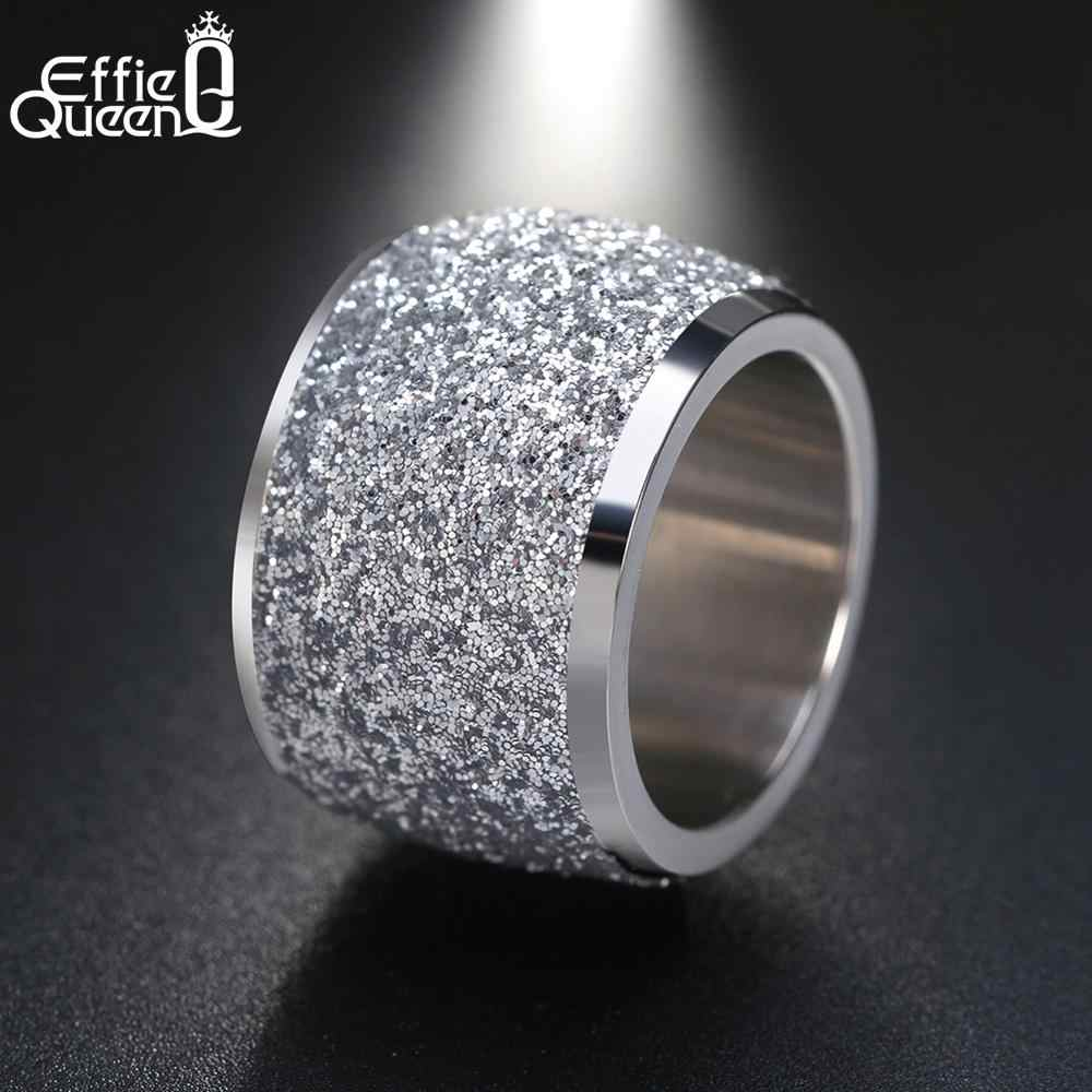 Effie Königin Rose Gold Farbe Silber Farbe Edelstahl Ringe 16mm Zuckerguss Oberfläche Große Hochzeit Band Party Ring für frauen IR73