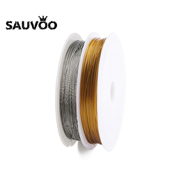 SAUVOO 45m/Roll Gold Color Stainless Steel Wire Cord Fishing Thread String Beading Rope Cord for DIY Necklaces Jewelry Making