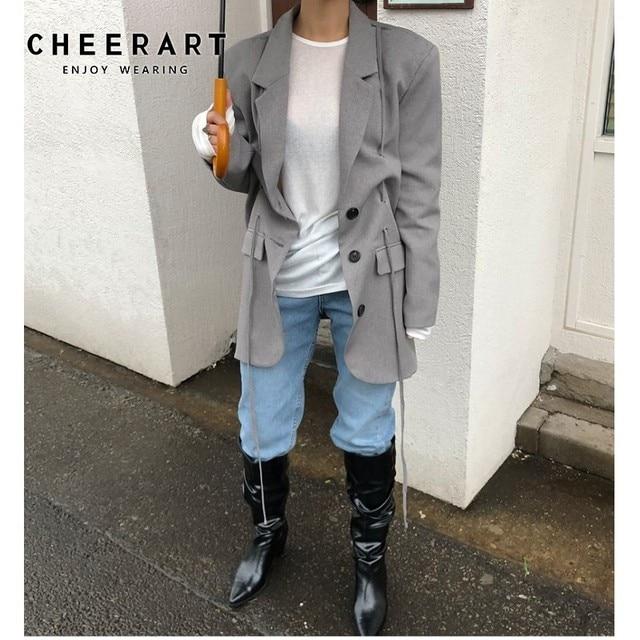 CHEERART Grey Blazer Designer Coat Women Casual Long Blazer And Jackets Ribbon Black Blazer Blazers Streetwear Fall 2019