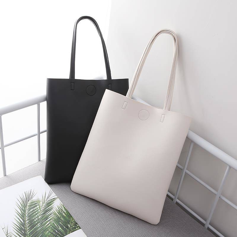 Without Inside Pocket] Fashion Handbag 2019 New Korean Soft Leather Tote Bag Student Simple Large-capacity Bag